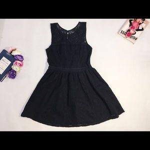 Abercrombie & Fitch dark blue lace mini dress M